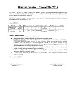 Opravné zkoušky – červen 2014/2015