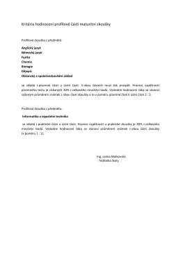 Kritéria hodnocení profilové části maturitní zkoušky