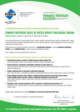 PORADCE ŘEDITELKY - Nakladatelství Forum s.r.o.