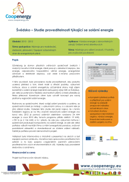 Švédsko – Studie proveditelnosti týkající se solární energie