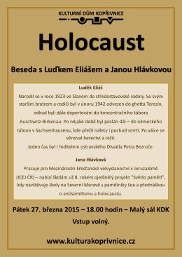 Holocaust Beseda s Luďkem Eliášem a Janou Hlávkovou Luděk Eliáš