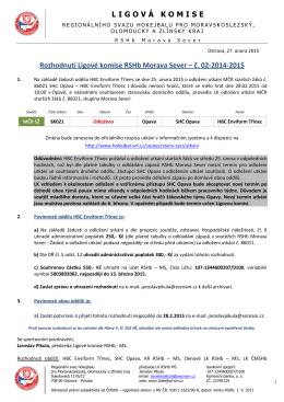 LIGOVÁ KOMISE Rozhodnutí Ligové komise RSHb Morava Sever