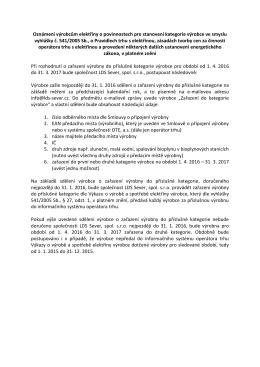Oznámení výrobcům, připojeným do DS LDS Sever