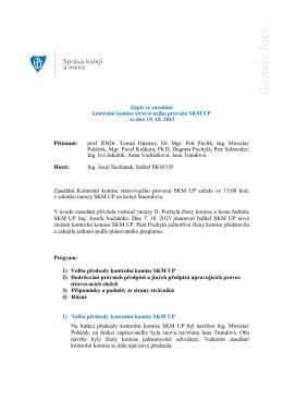 Zápis z kontrolní komise ze dne 19. 10. 2015