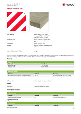 Technický list PAROC Pro Slab 100
