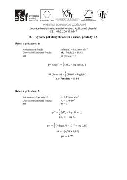 07 – výpočty pH slabých kyselin a zásad, příklady 1-5