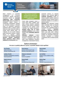 Špičkoví přednášející - Finance a investiční management