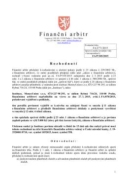 Rozhodnutí o uložení pokuty instituci MoneyUnion s.r.o. ze dne 17