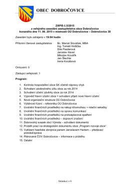 Zasedání ZO Dobročovice ze dne 11.06.2015