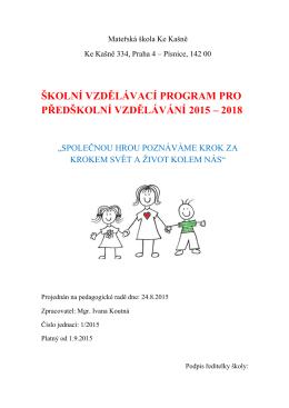 Školní vzdělávací program 2015-2018