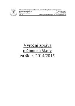 Výroční zpráva za školní rok 2014/2015.