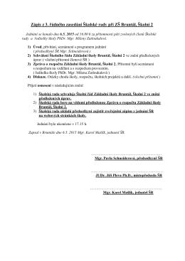 Zápis z 3. řádného zasedání Školské rady při ZŠ Bruntál, Školní 2