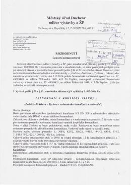 Rozhodnutí o umístění stavby-Ledvice-Jiráskova