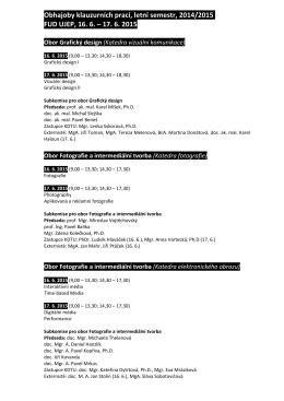 Obhajoby klauzurních prací, letní semestr, 2014/2015