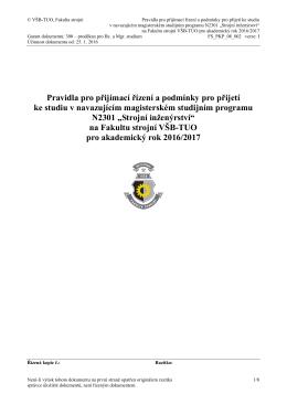 Studijní program Strojní inženýrství - FS VŠB