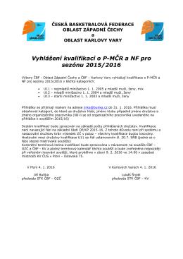 Vyhlášení kvalifikací o PMČR a NF pro sezónu 2015/2016