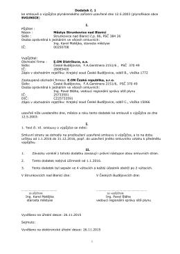 1 Dodatek č. 1 ke smlouvě o výpůjčce plynárenského zařízení