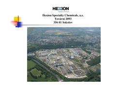 Hexion Specialty Chemicals, a.s. Tovární 2093 356 01 Sokolov