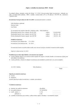 Zápis o výsledku inventarizace