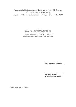 účetní závěrka - příloha 2014