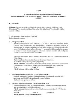 Zápis za zasedání MěZ Buštěhrad č. 3/2015