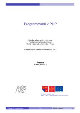 Programování v PHP - Edux - České vysoké učení technické v Praze