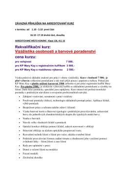 Rekvalifikační kurz: Vizážistika osobnosti a barvové poradenství