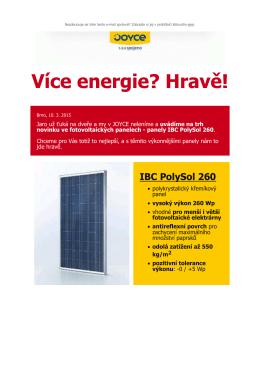TZ - Více energie s novými panely IBC PolySol 260