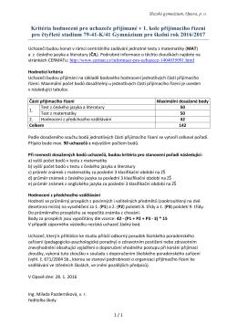 Kritéria hodnocení pro uchazeče přijímané v 1. kole přijímacího