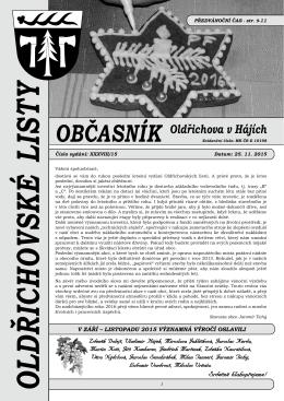 ObčASnÍk - Oldřichov v Hájích