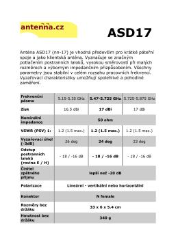 Anténa ASD17 (nn-17) je vhodná především pro krátké páteřní
