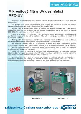 Mikrosítový filtr s UV desinfekcí - MFO-UV