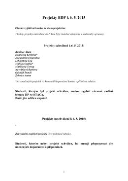 Projekty BDP k 6. 5. 2015