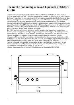 Technické podmínky a návod k pou ití detektoru