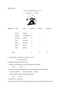 Zápis z výborové schůze č. 7 konané dne 17. 7. 2015