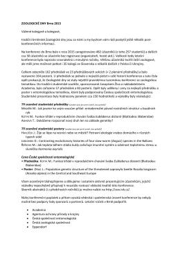ZOOLOGICKÉ DNY Brno 2015 Vážené kolegyně a kolegové