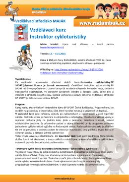 Pozvánka Instruktor cykloturistiky 2016