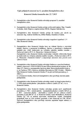 Výpis přijatých usnesení na X. zasedání