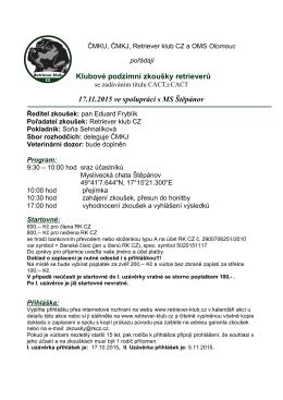 Klubové podzimní zkoušky retrieverů 17.11.2015 ve spolupráci s MS