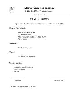Zápis č. 19/2015 z jednání rady města konaného dne 21.9.2015