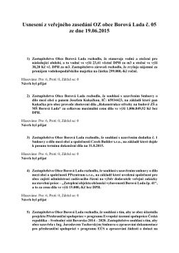 Usnesení OZ ze dne 19.06.2015