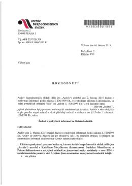 č.j. ABS 2337/2015 R - Archiv bezpečnostních složek