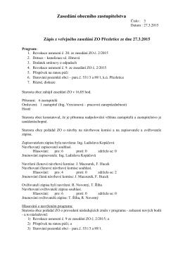 Zápis ze zasedání ZO č. 3/2015
