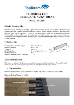 Technický list obkladové pásky TREND