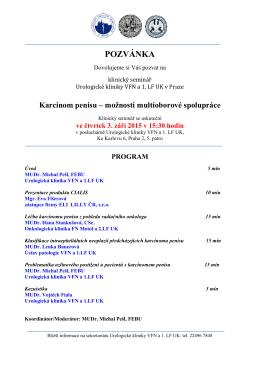 Pozvánka na seminář Urologické kliniky 3.9.2015