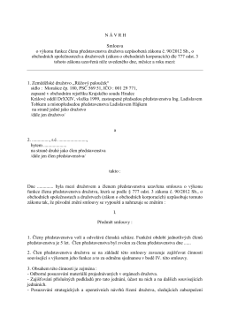 N Á V R H Smlouva o výkonu funkce člena představenstva družstva