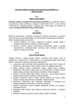 Stanovy Asociace výdejců a prodejců zdravotnických prostředků, z. s.