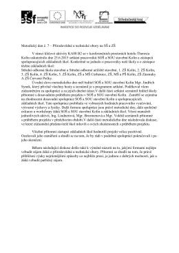 Metodický den č. 7 – Přírodovědné a technické obory na SŠ a ZŠ V