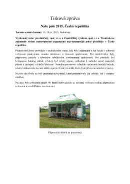 Tisková zpráva - Výzkumný ústav pícninářský, spol. s ro Troubsko