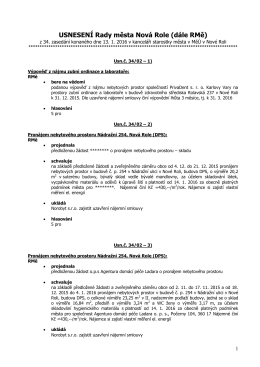 USNESENÍ Rady města Nová Role (dále RMě)
